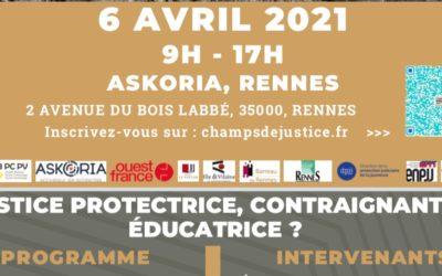 Colloque Enfants et Justice à Rennes le 6 avril 2021